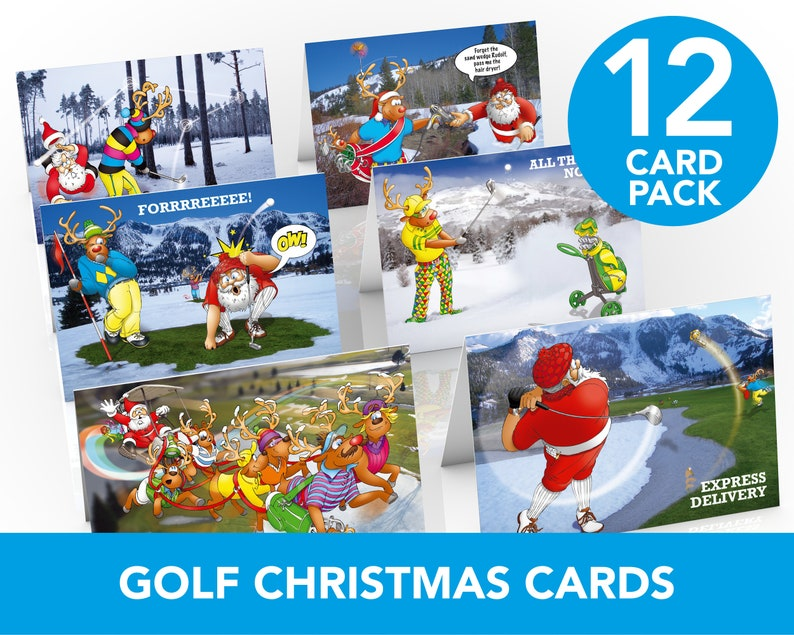 Golf Christmas Cards  12 card pack  Funny greeting cards  image 0