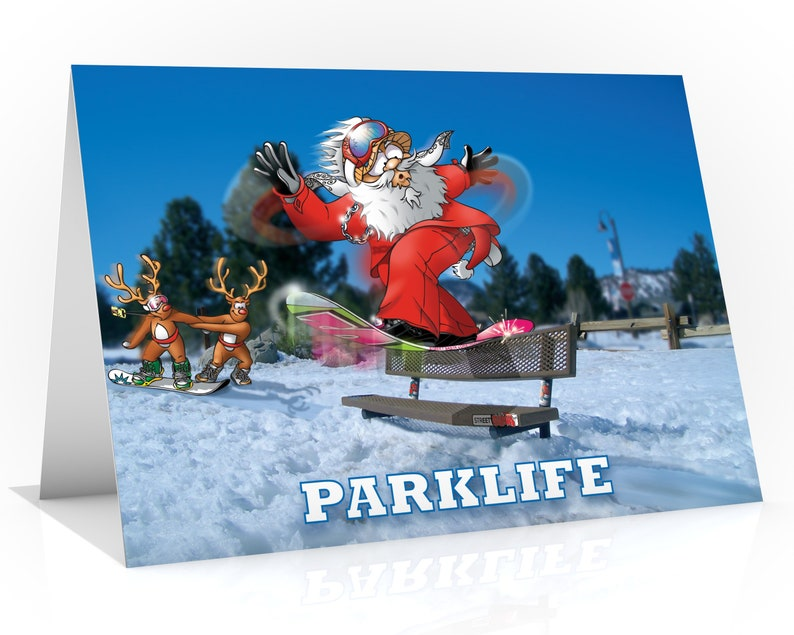Snowboard Christmas card  Parklife  A5 card  Santa having image 0