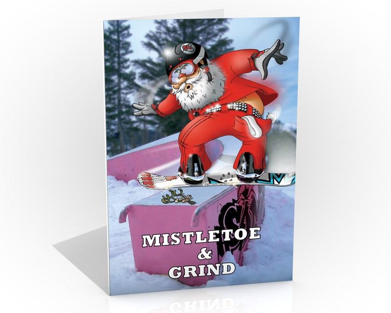 Snowboard Christmas card  Santa grinding towards the image 0