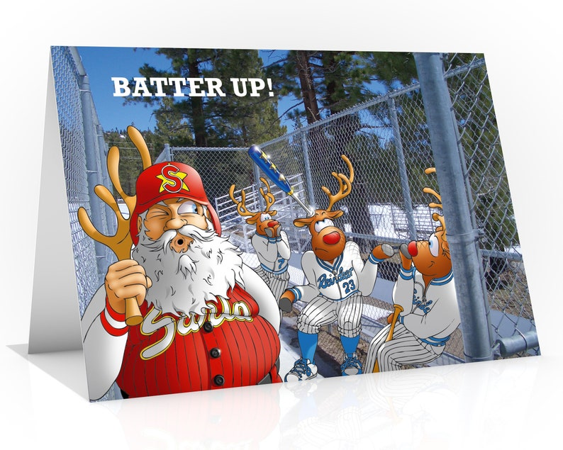 BASEBALL CHRISTMAS CARD  Batter up Funny Christmas card image 0