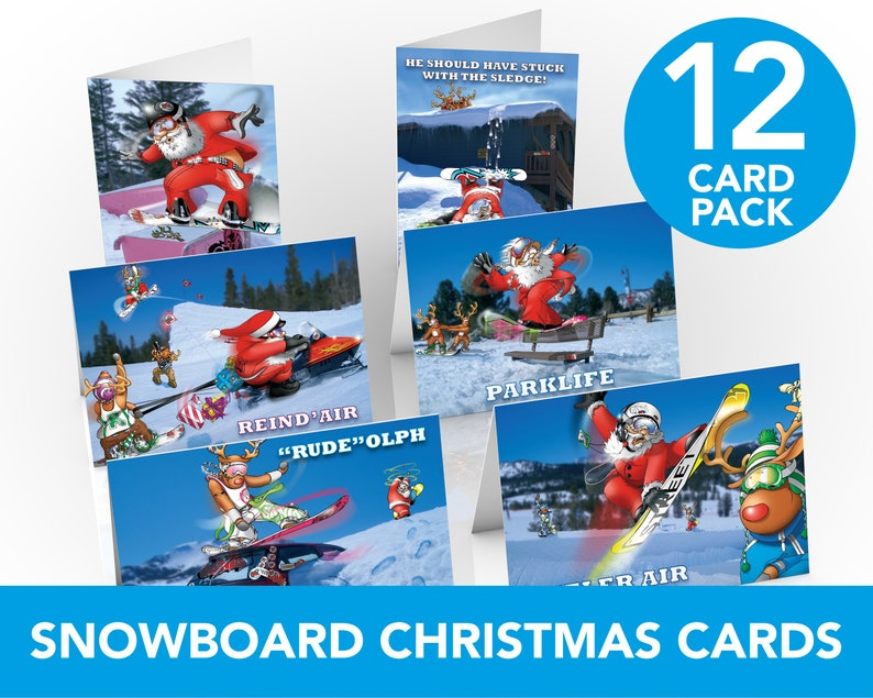 Snowboard Christmas Cards  12 card pack  Funny Christmas image 0