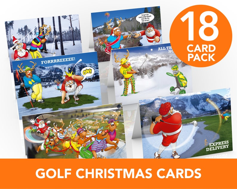 Golf Christmas Cards  18 card pack  Funny Golfing cards  image 0