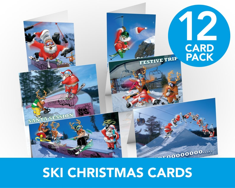 Ski Christmas Cards  12 card pack  A5 Size  Funny skiing image 0