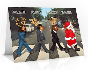 Beatles Christmas card | The Fab Four as you have never seen before | Ringo Rudolph and Santa Lennon on Abbey Road | For all Beatle fans