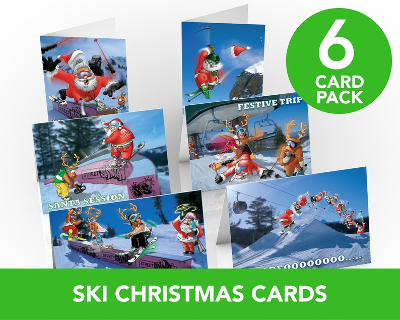 6 PACK of Ski Christmas Cards  A5 Size  Funny Christmas image 0