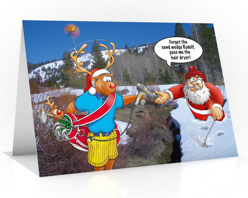 GOLF CHRISTMAS CARD  Forget the sand wedge Rudolf pass me image 0