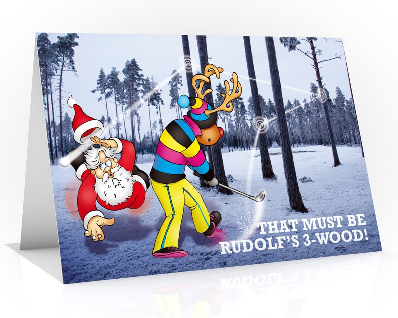 Golfing Christmas card  Great card for husband  Rudolf image 0