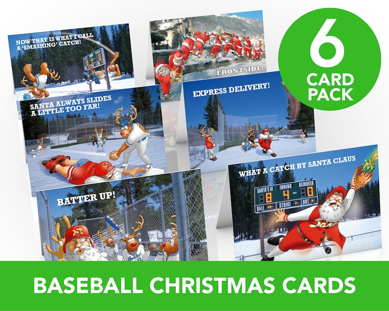 Baseball Christmas Cards  6 card Pack  A5 Size  Funny image 0