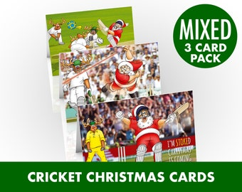 Cricket Christmas card | Mixed 3 card pack | Funny card of Santa at the wicket with his pals | Card for Dad, Husband, Son | A5 size