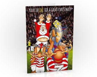 Rugby Christmas Card | Funny card showing Santa embarrassing himself in the line out | Card for husband, wife, Dad, Mum | A5 size hand drawn