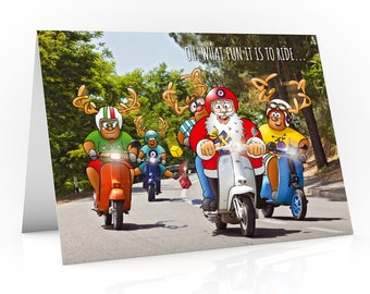 Scooter Christmas card | Oh what fun it is to ride... | Funny design showing Santa and his pals out for a ride on a sunny day | A5 size