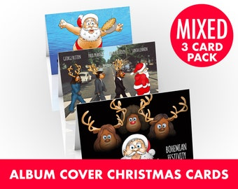 Famous Album Cover Christmas cards | 3 card pack | Festive parodies showing Santa and reindeers recreating iconic album covers | A5 size