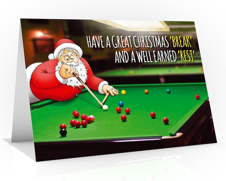 Snooker Christmas card  Funny Christmas card  Santa Claus image 0