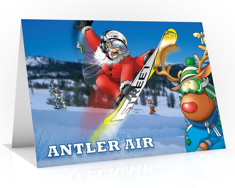 Snowboarding card  Funny snow theme with Santa pressing image 0