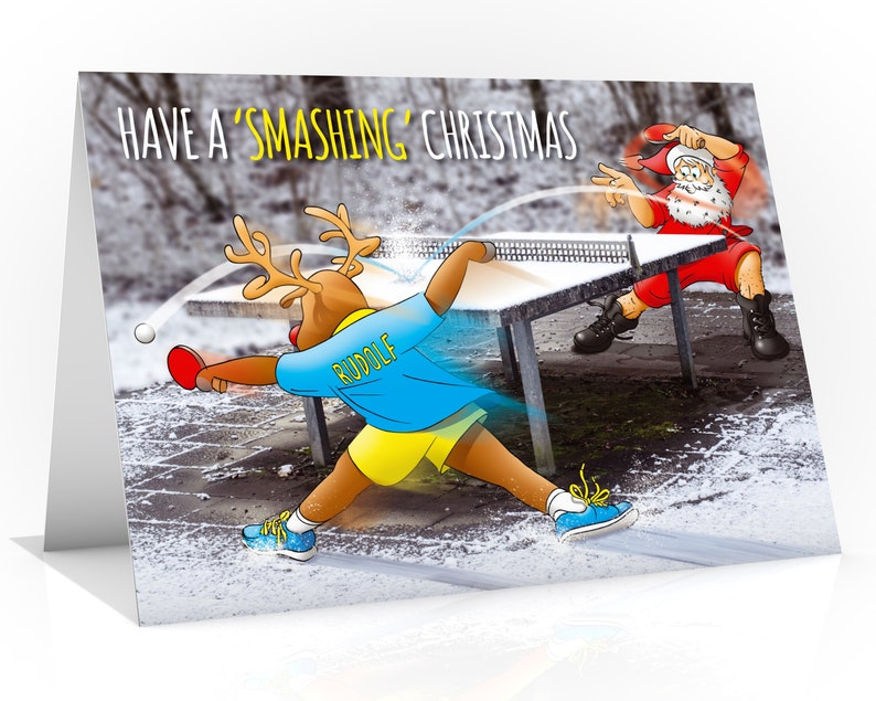 Table Tennis Christmas Card  A5 size  Very unique design image 0