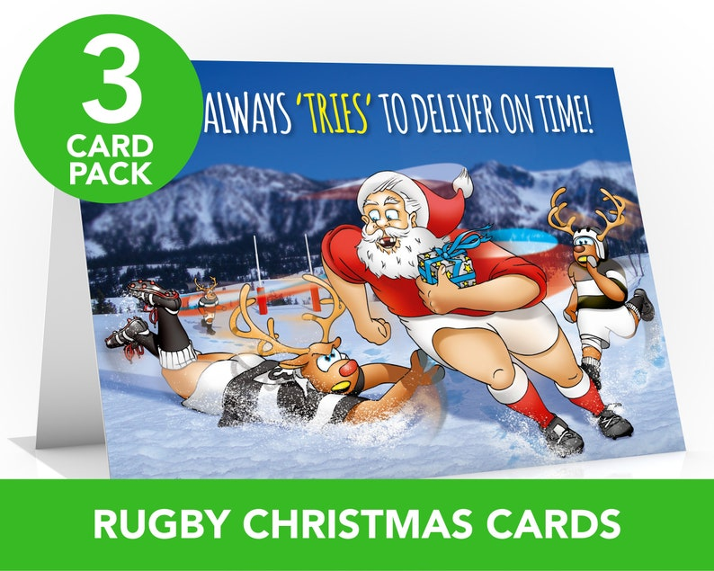 Rugby Christmas card  3 CARD PACK  Value pack  Card for image 0