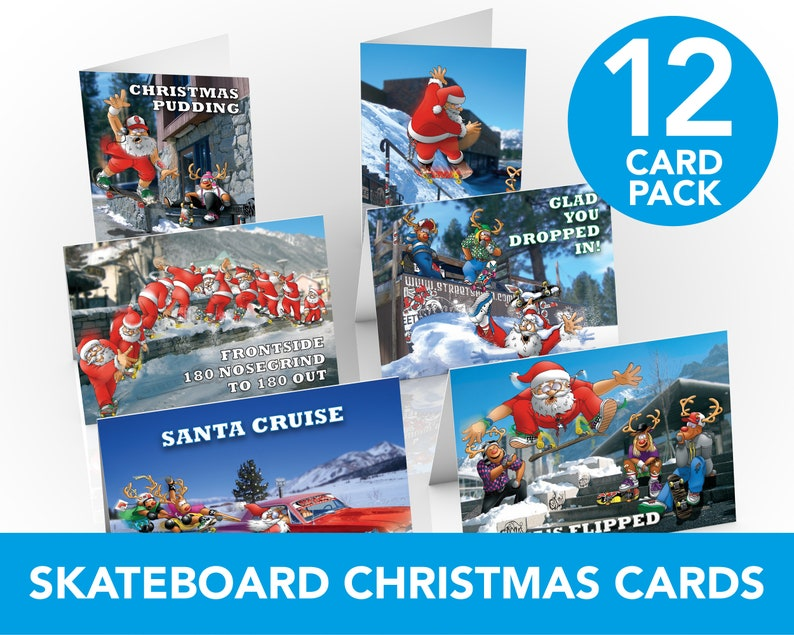 Skateboard Christmas Cards  12 card pack  Funny Christmas image 0