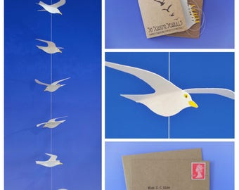 Six Soaring Seagulls - Handmade Paper Birds Mini Mobile from Worthing - The Famous String of Gulls!