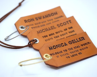 Set of 3 (three) Leather Luggage Tags w/ Attachment, Personalized Luggage Tags, Custom Luggage Tag, Engraved Luggage Tag, Wedding Favors
