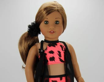 Handmade 18 inch doll clothes - Black and coral 4 piece swimsuit outfit (595)