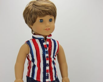 Handmade 18 inch doll clothes - Boy red, white and blue sleeveless shirt outfit (894)