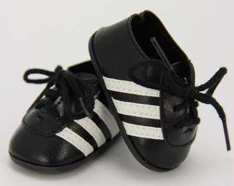 "S A L E Black and white soccer shoes (fits 18"" doll)"