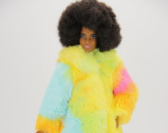 Fur Coat and Sheath Dress outfit (1757) (Fits 11.5 inch fashion doll 1/6 scale)