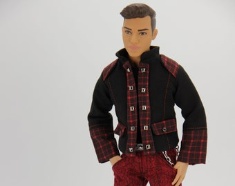 Black and Red 4 piece steam jacket outfit (1742) (Fits 12 inch MTM male fashion doll, 1/6 scale)