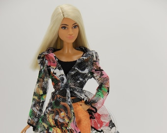 Black and Orange 4 piece Lace Cardigan outfit (1758) (Fits 11.5 inch fashion doll 1/6 scale)