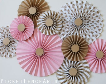 Pink and Brown Paper Rosettes, Paper Fans Backdrop, Pink and Brown Nursery, Pink and Brown Bridal Shower, Pink and Brown Wedding
