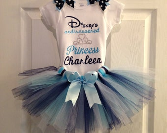 Personalized Tutu Outfit with Bows. Disney's Undiscovered Princess.Custom Made Little Girl Bodysuit. Embroidered Princess Personalized