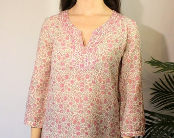 ec1cd8a55ec Organic Cotton Tunic - Indian Kurti - Handblockprinted Shirt - Floral shirt  - Indian cotton blockprinted - Spring Shirt