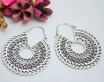 Hoop Earrings - Round Earrings -Brass Earrings - Boho style - Ethnic jewelry - Tribal earrings -