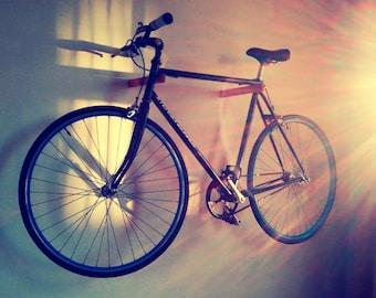 Bike rack. Bike shelf. Affordable bike storage. Bike cabinet. wall mount hanging bike system. Fixie hooks. Wood bike display. In 5 colors.