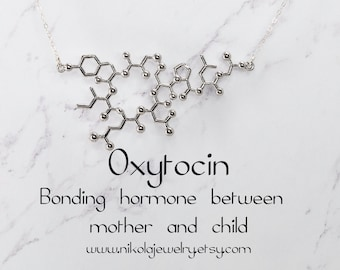 Oxytocin Molecule Silver or Gold Necklace, Chemistry Geek Jewelry, Bonding Molecule, Oxytocin Pendant Bio-Chemistry Love Hormone