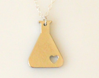 Science Erlenmeyer Flask Chemistry Necklace, Chemistry Necklace, Nerd Necklace, Love Science Jewelry, Biology Necklace in Gold or Silver