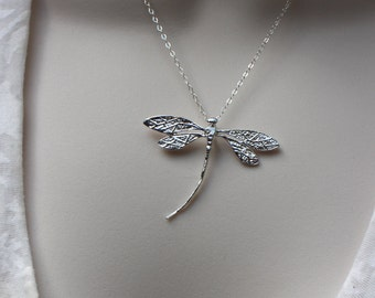 Sterling Silver Dragonfly Necklace, Dragonfly Pendant, Nature Jewelry, Renewal Necklace, Bridesmaid Necklace, Nature Wedding