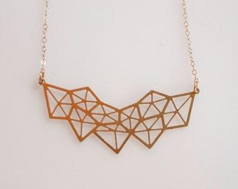 Geometric Diamond Gold Necklace,  Gold Statement Necklace, Geometric Pendant, Geometric Gold Necklace