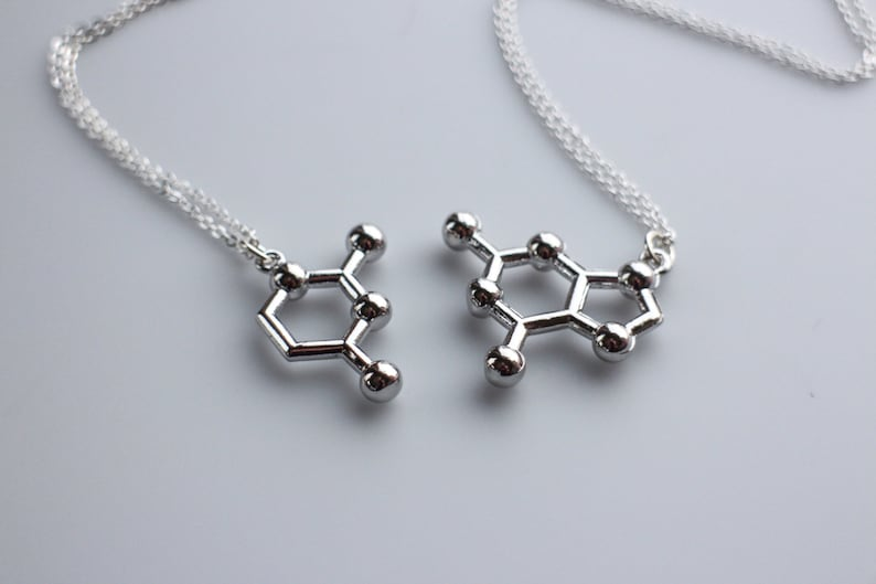 DNA Base Pair Molecule Necklace Friendship Necklace Pair image 0