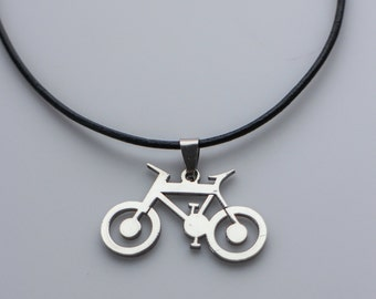 Stainless Steel Mountain Bicycle Necklace, Male Jewelry, Men Jewelry, Bike Sport Necklace, Bicycle Jewelry, Stainless Steel Necklace