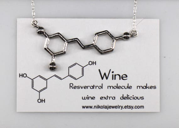 Red Wine Resveratrol Molecule Necklace In Gold Or Silver Etsy