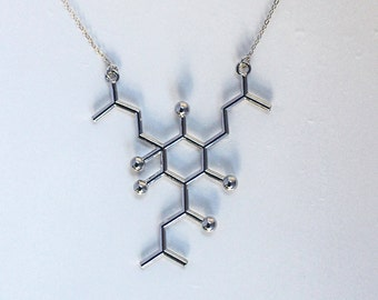 Hops Molecule Beer Necklace, Hops Chemical Structure, Beer Lover's Jewelry, Humulone Molecule Necklace, Biology Jewelry, KeyChain