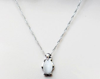 Sterling Silver Penguin Necklace, Cat's Eye White Bead in Penguin, Silver Penguin Holiday Necklace