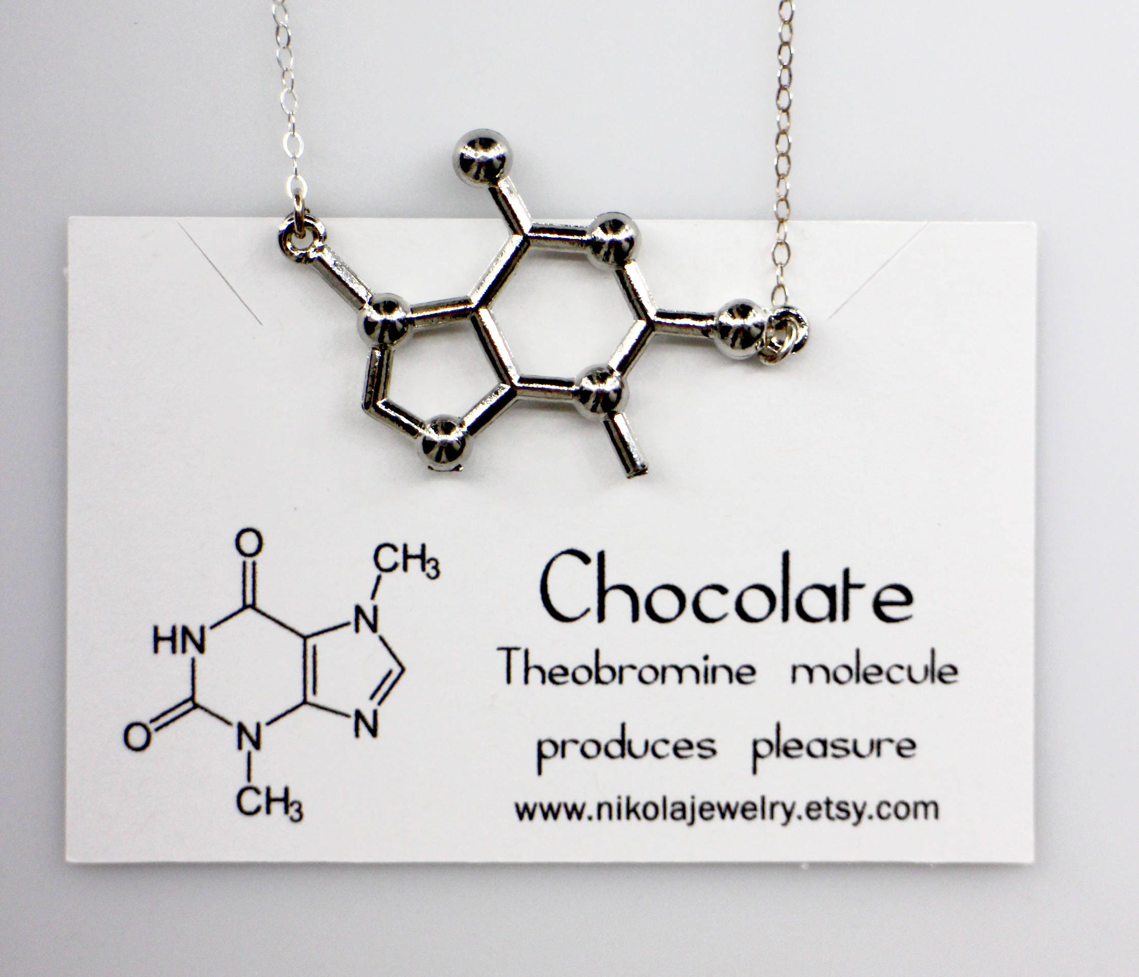 Chocolate Molecule Necklace In Gold Or Silver Chemistry Etsy