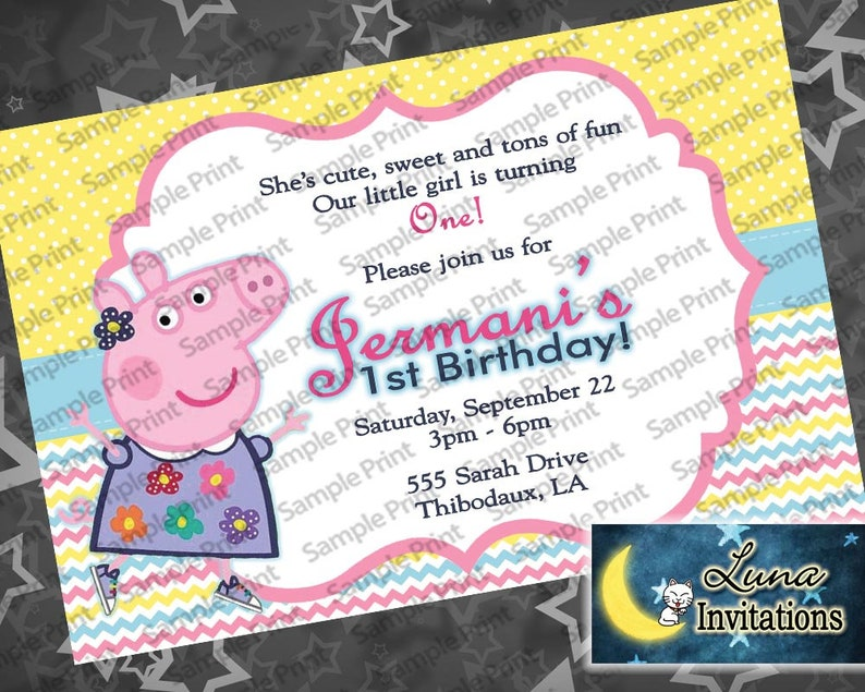 Peppa Pig Birthday Invitation