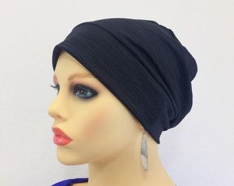 02903593041 Chemo Alopecia Hair Loss Slouchy Cap-Hat-Chemo Beanie~Sleep Cap~Chemo  Headwear~Black Knit  41