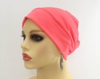 8c0c13f0711 Chemo Alopecia Hair Loss Slouchy Cap~Chemo Beanie~Chemo Hat-Chemo Sleep Cap~ Chemo Headwear~Bright Pink Knit 489