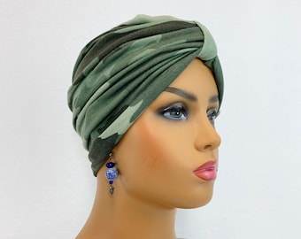 Chic Camo Turban~Chemo Hat~Chemo Headwear~Head Cover for Hair Loss~Alopecia Turban~Trendy Hat~Cap~ Size Med#599