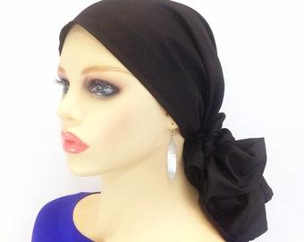Pre Tied Chemo Head Scarf~Chemo Head Wrap~Cancer Scarf~Chemo Gift~Black  Chiffon~Adjustable Toggle~Wear Long or Short 538 cb06ca66a6a3