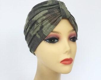 Chic Camo Turban~Chemo Hat~Chemo Headwear~Head Cover for Hair Loss~Alopecia  Turban~Trendy Hat~Cap~ Size X-Small 599 2d1e25845bf